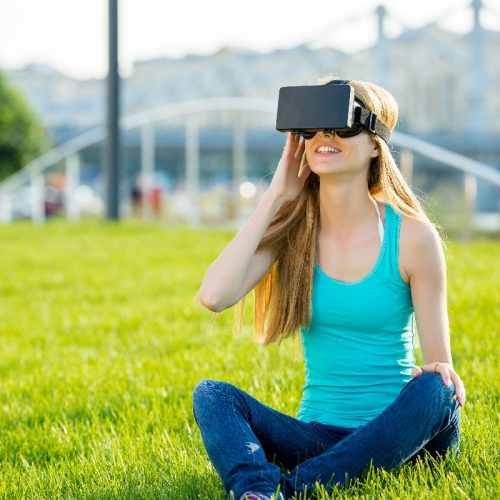 a woman enjoying virtual reality.